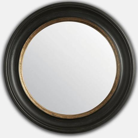 Black & Gold Round Convex Mirror (L)