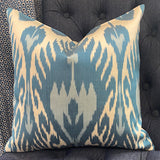 silk cush two blue ikat