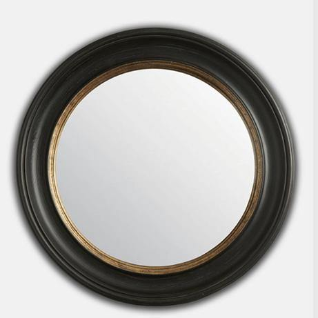 Black & Gold Round Convex Mirror (M)