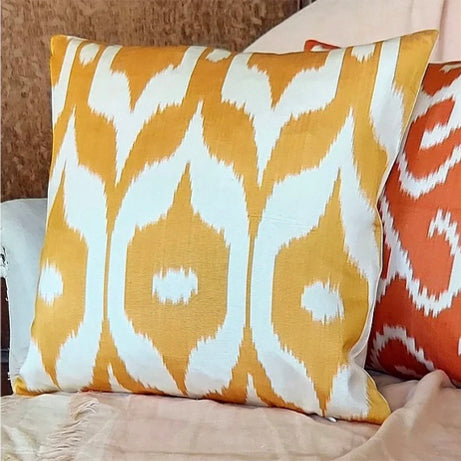 Silk ikat cushion, yellow
