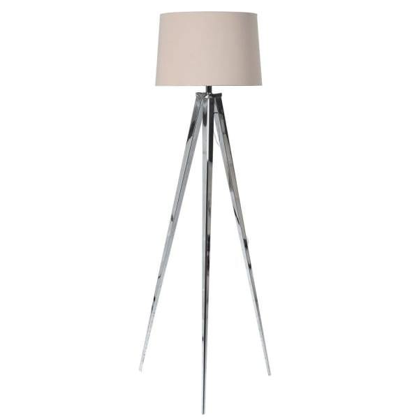 Chrome Effect floor lamp - Cream Shade