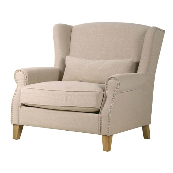 Studded Natural Oversize Easy Chair
