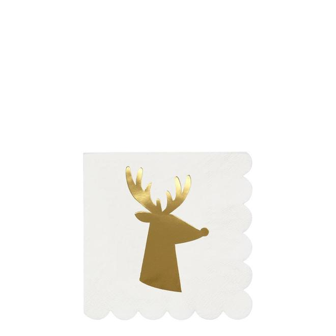 Gold Reindeer Small Napkin