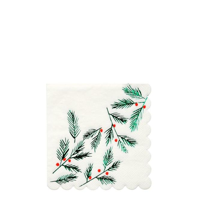 Festive Leaves & Berries Small Napkins