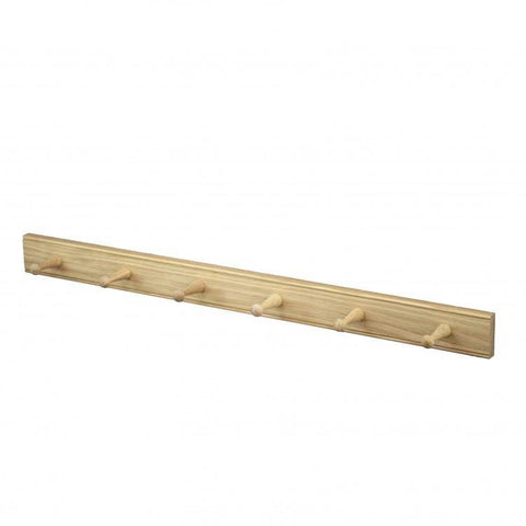 Oak 6 Peg Rack