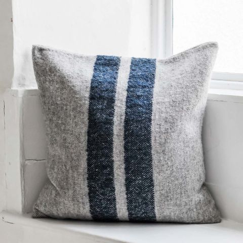 Wool Rich Grey Cushion / Blue Stripe