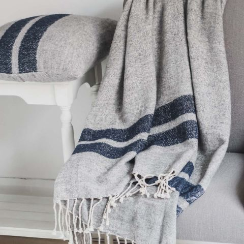 Wool Rich Grey Throw / Blue Stripe