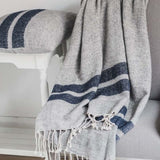 Grey throw blue stripe 130x170