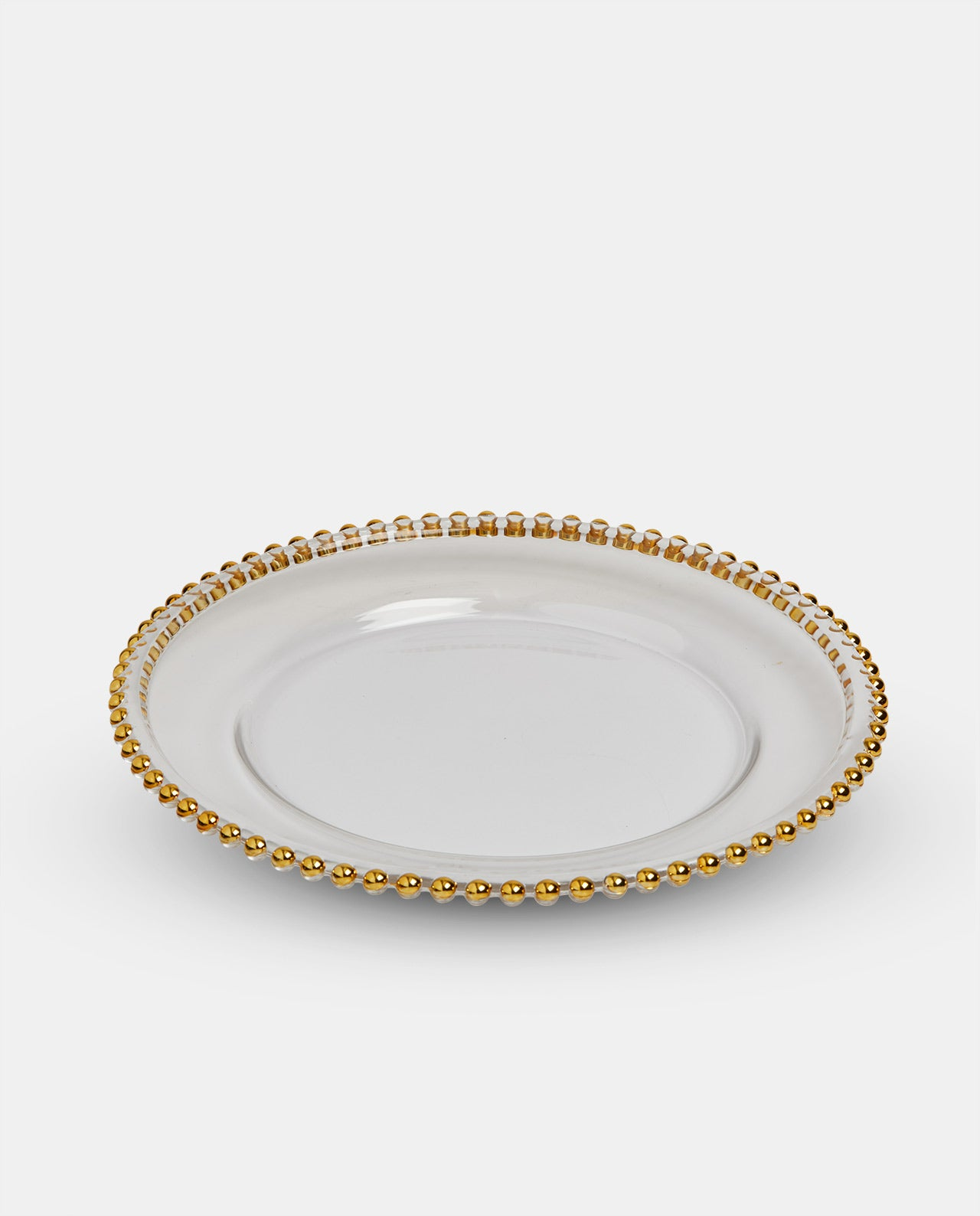 Glass Gold Beaded Charger