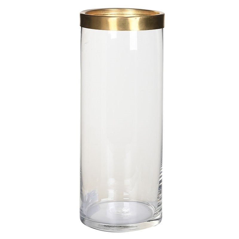 Tall Vase W/brass Rg