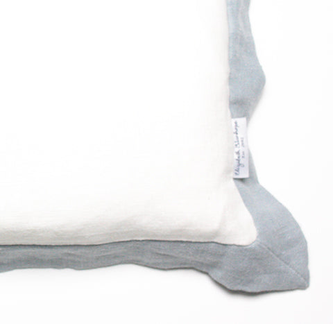 Elizabeth Stanhope Linen Breakfast Cushion / Duck Egg Oxford Edge