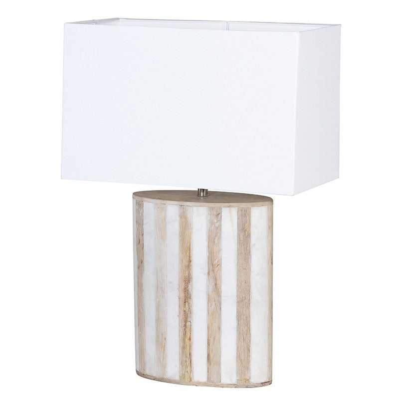Wood and White Marble Lamp