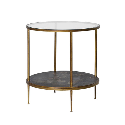 Gold Leaf and Glass Round Occasional Table