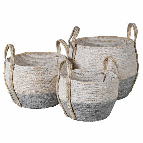 Grey and White Seagrass Basket Small