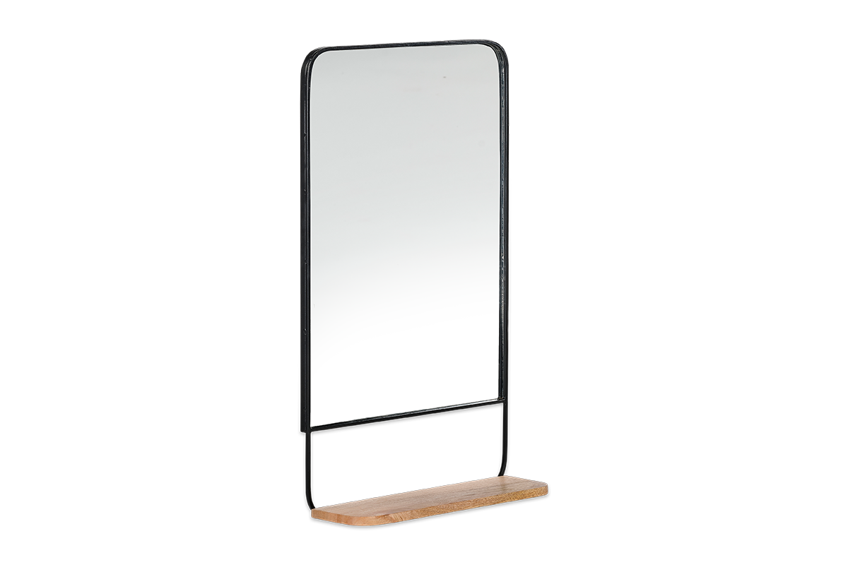 Harni Mirror (portrait) Black/Mango Wood