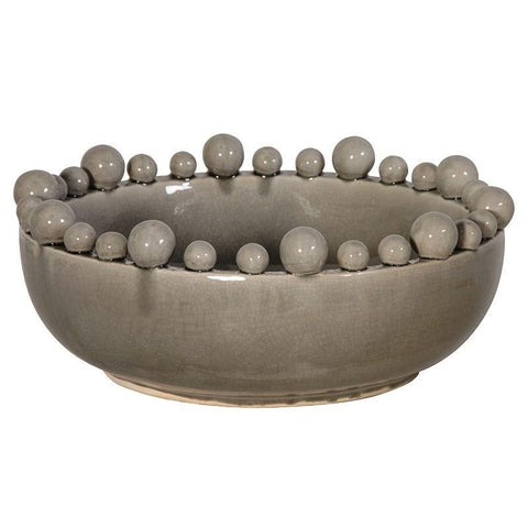 Grey Bowl with Balls on Rim