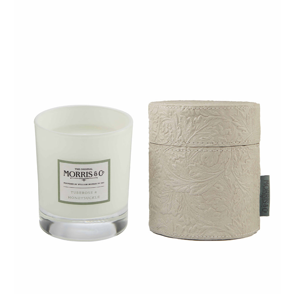 MORRIS HOME Tuberose & Honeysuckle Scented Candle in fabric Drum 200g e 7.06 oz (Grey)
