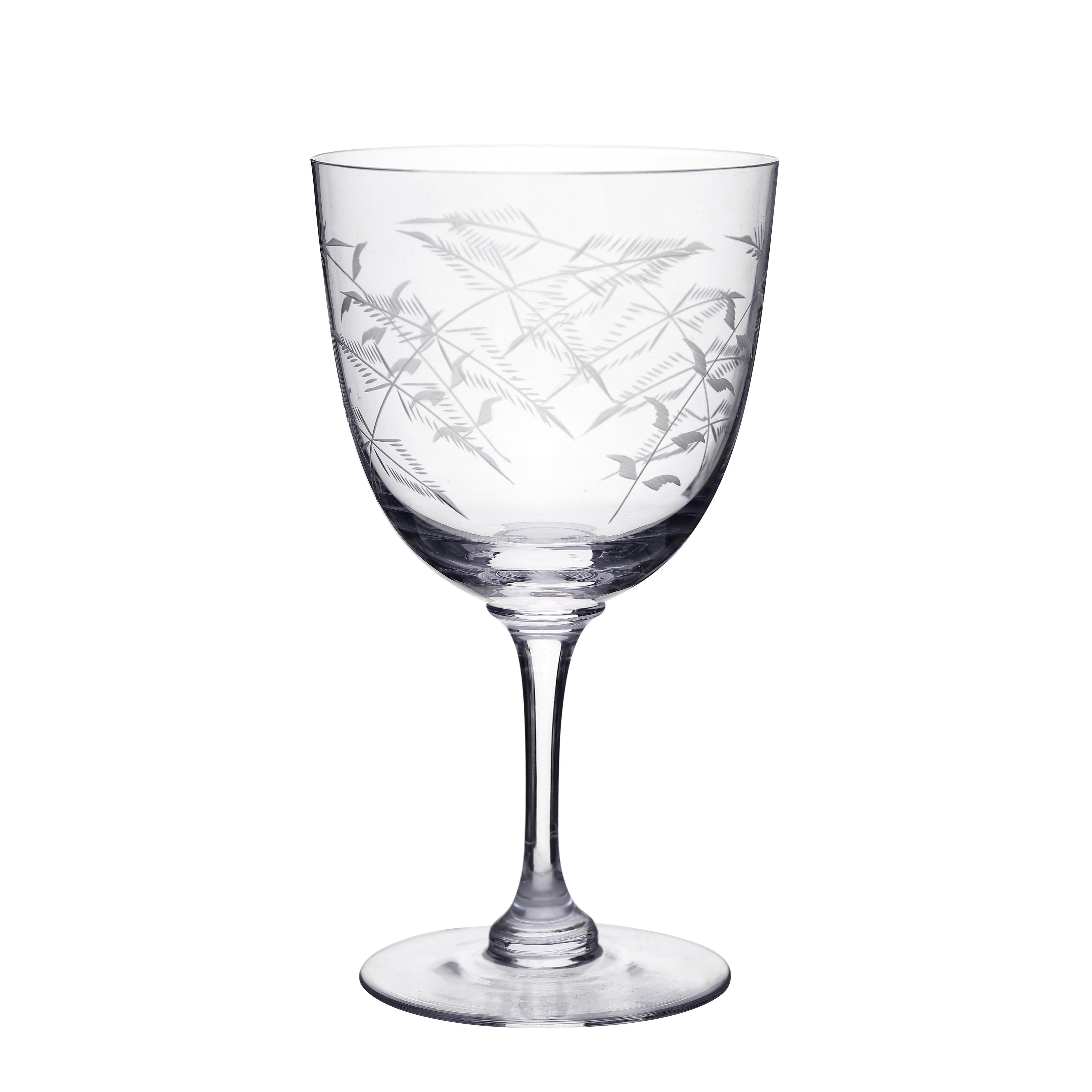 WINE GLASSES WITH FERN SET OF 6