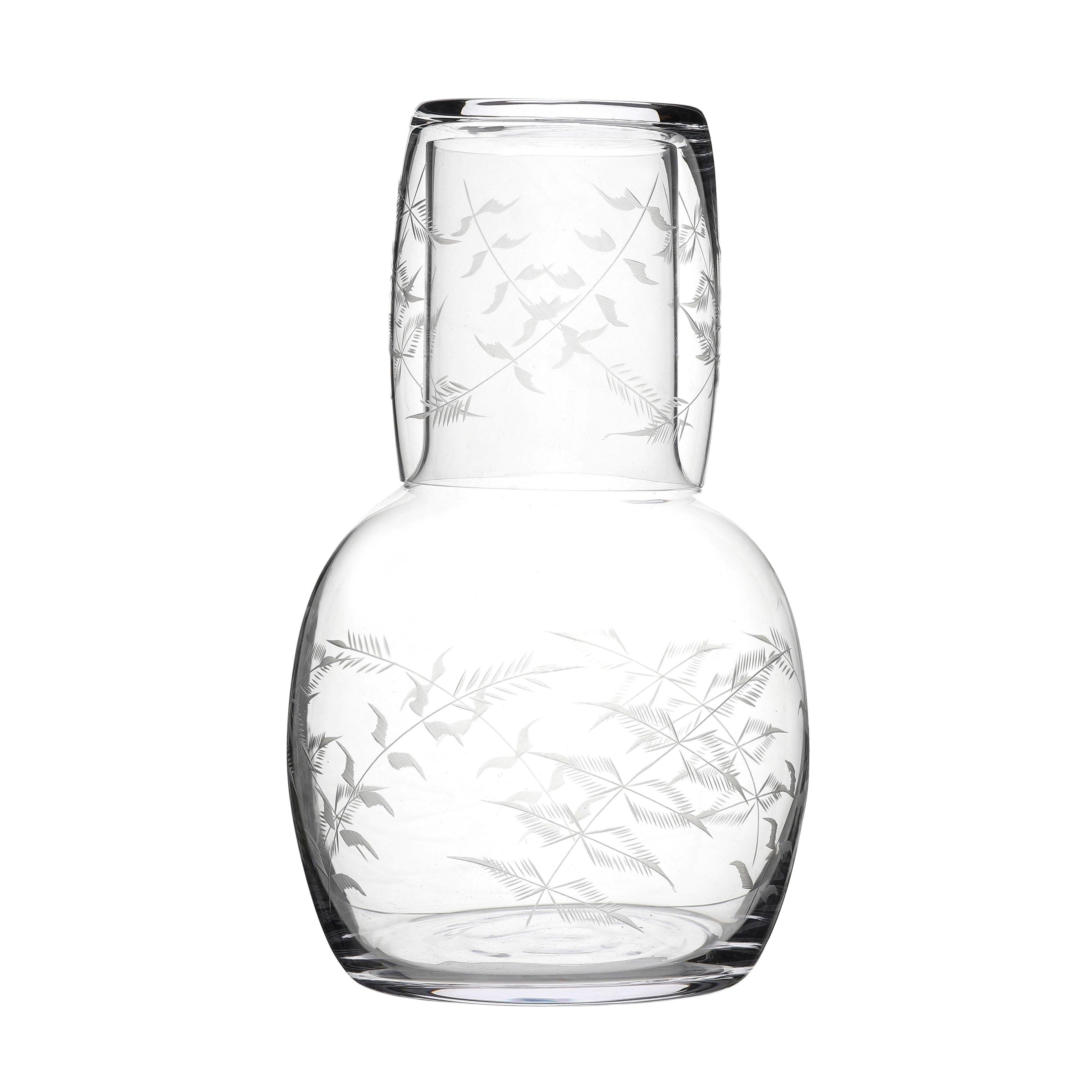 Carafe and Glass with Fern Design