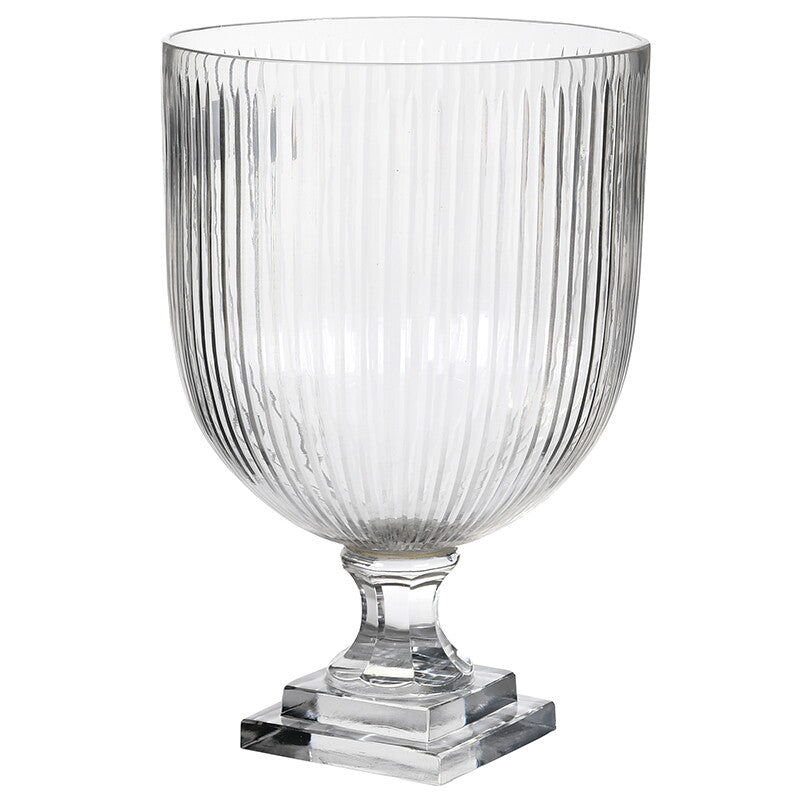 Striped Etched Glass Vase