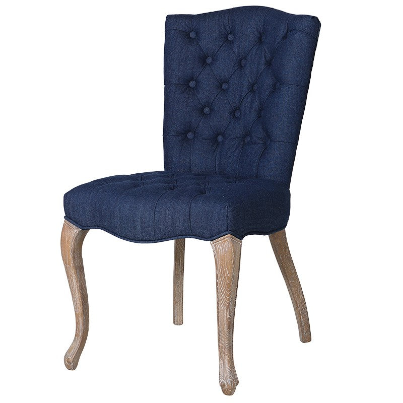 Blue Denim Button Dining Chair