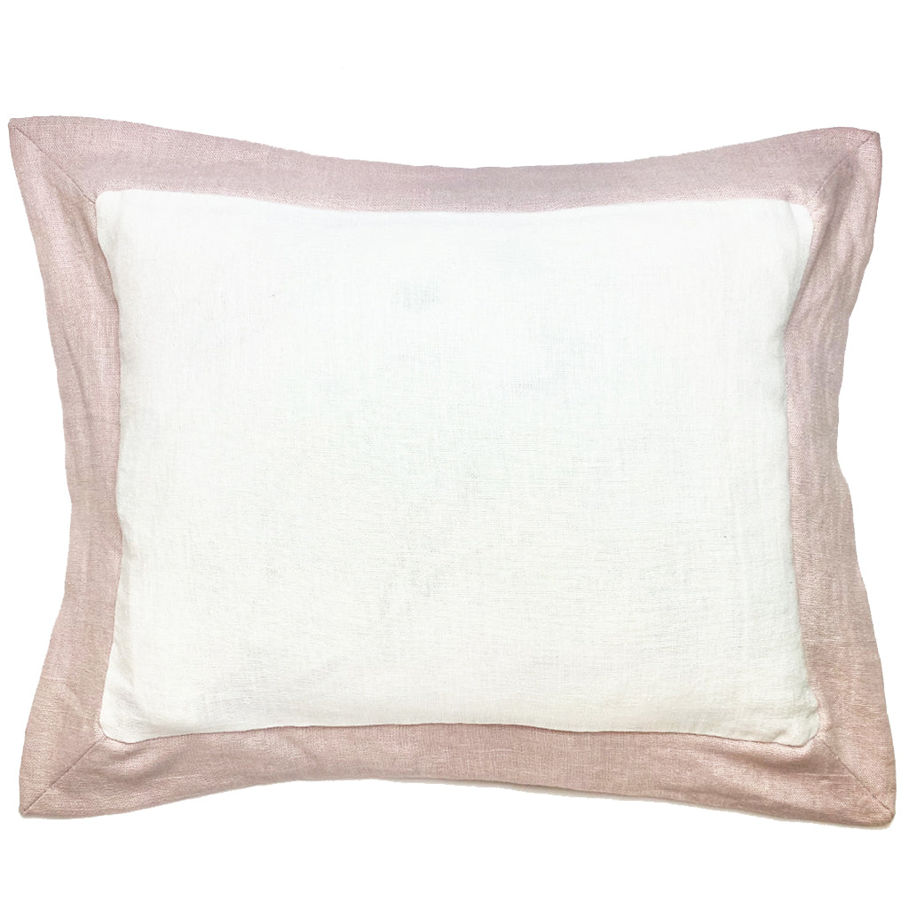 Elizabeth Stanhope Linen Breakfast Cushion / Pink Oxford Edge