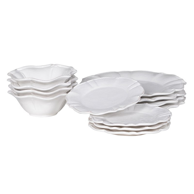 12 Piece Scalloped White Dinner Service