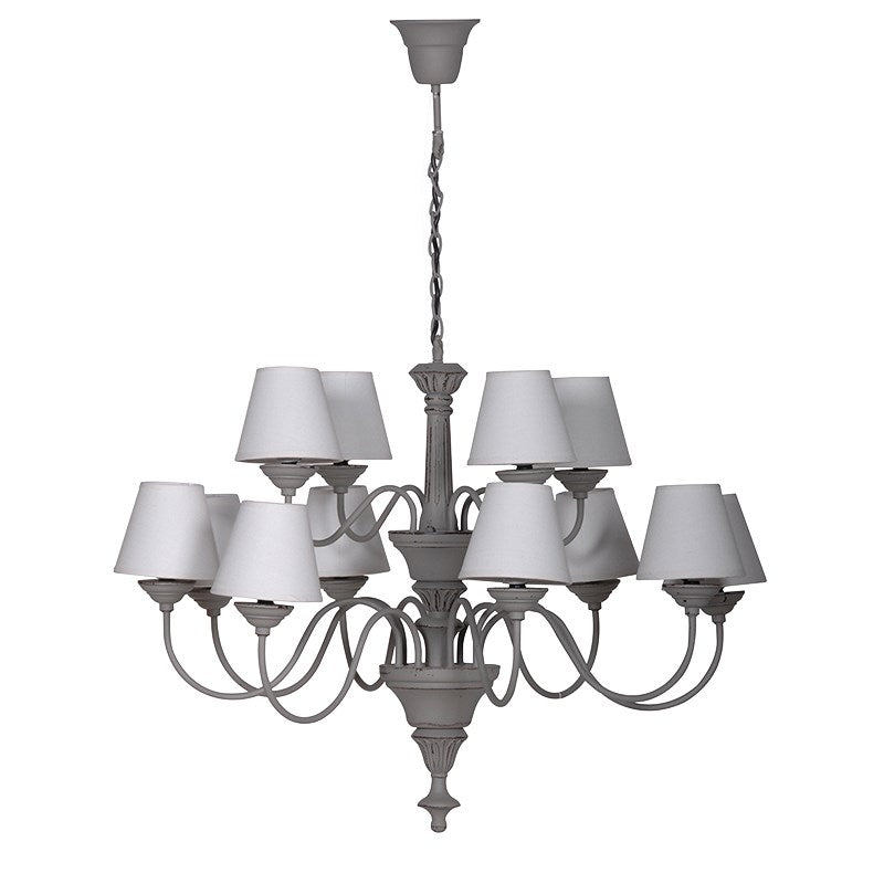 Grey Chandelier with 12 Shades
