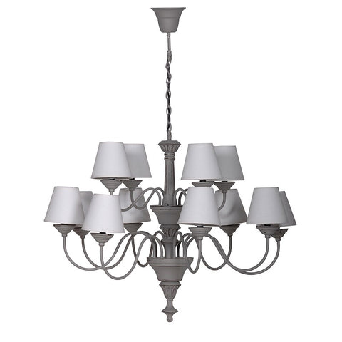 Grey Chandelier with 12 Cream Shades