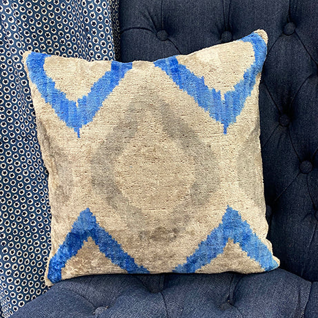 Velvet/silk Cushion -  Blue/Grey