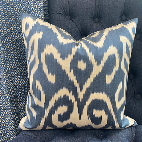 Silk cushion - Navy ikat