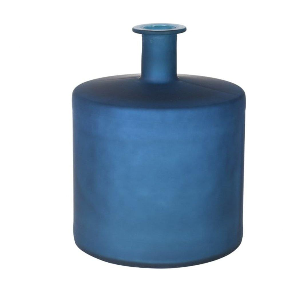 Frosted Blue Bottle Vase