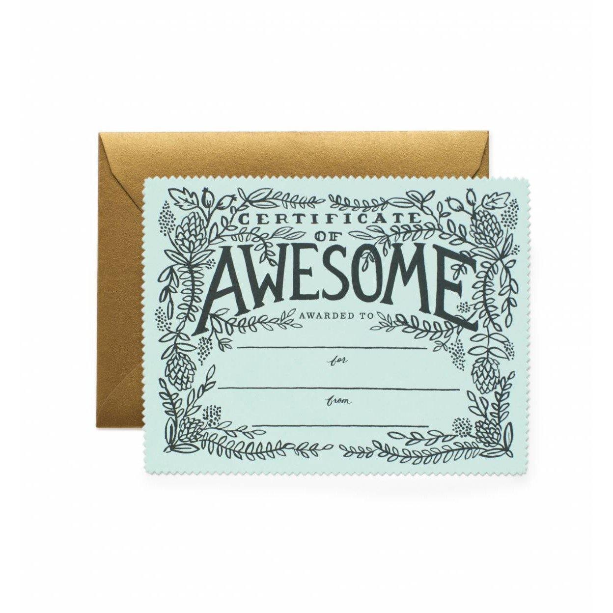 Everyday Die Cut Flat Note Certificate Of Awesome