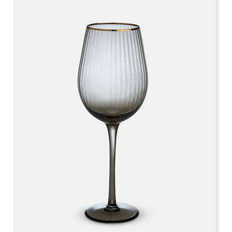 Italia Grey Gold Rim White Wine Glass