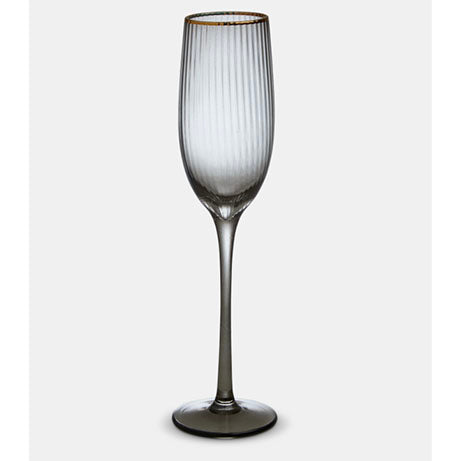 Italia Grey Glass Gold Rim Champagne Glass