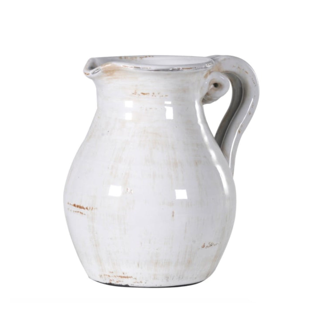 Off White Distressed Ceramic Jug