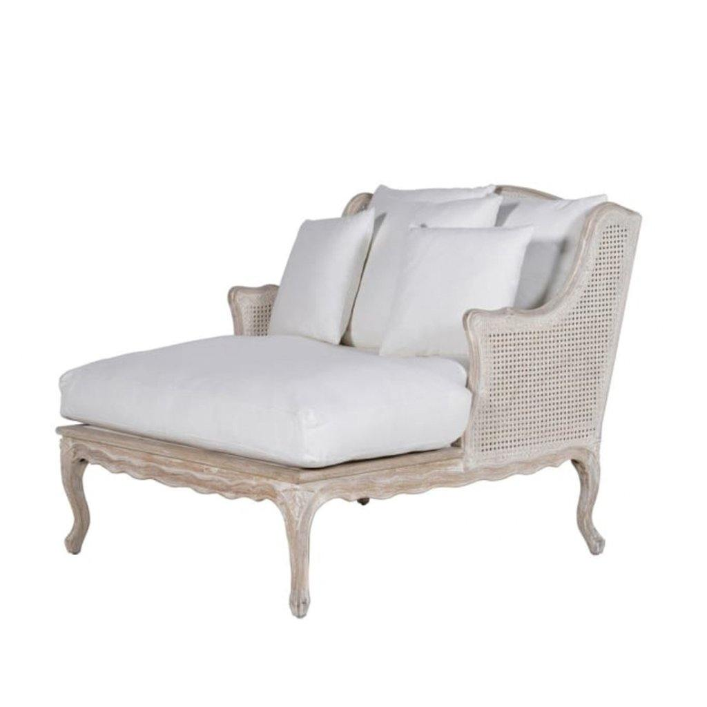 White Cotton Long Salon Chair