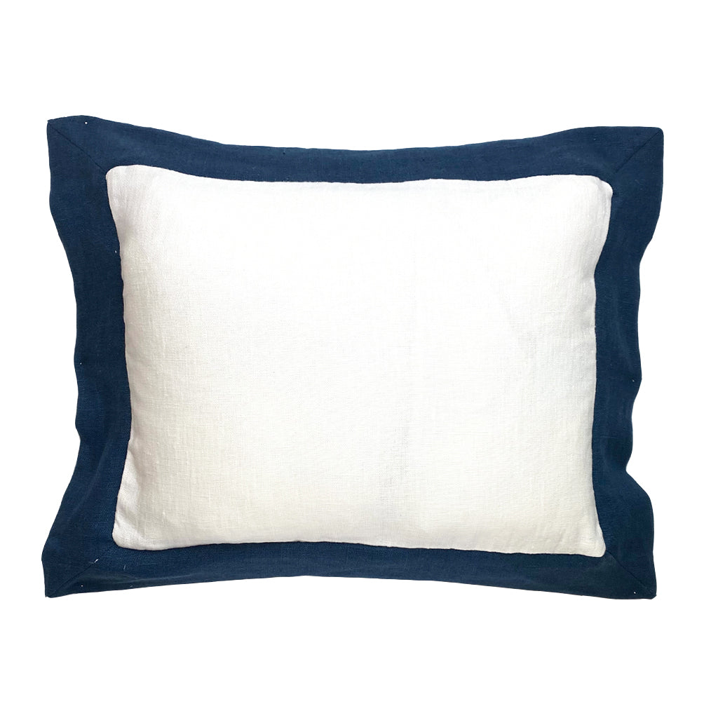 Elizabeth Stanhope Linen Breakfast Cushion / Navy Oxford edge