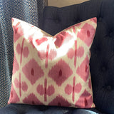 Pink ikat/red spots cushion 40 x 40