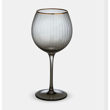 Italia Grey Gold Rim Red Wine Glass