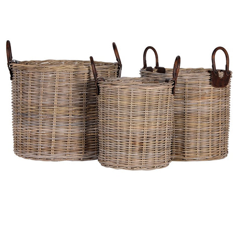 Round Log Baskets with Leather Handles