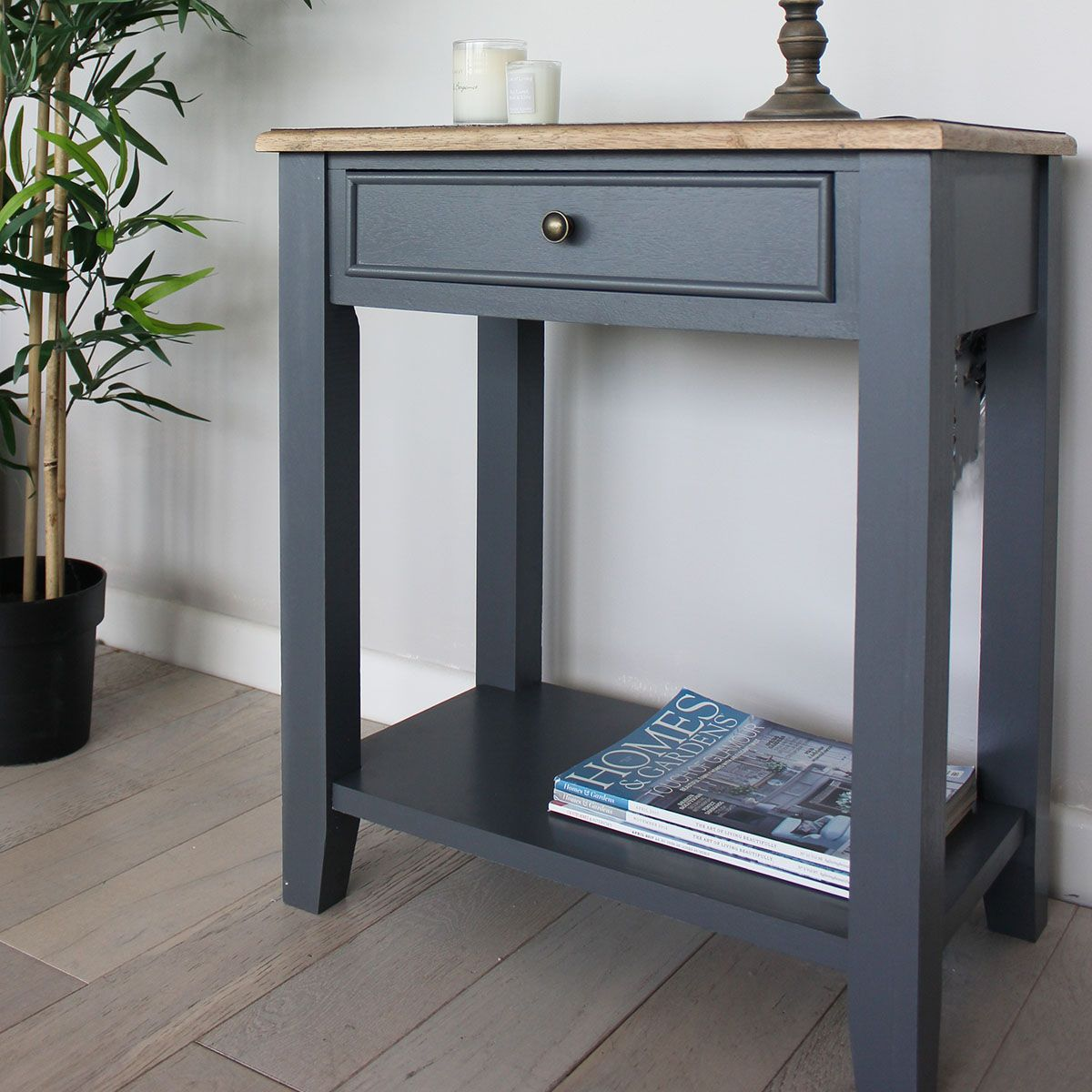 Bedside Table Grey/ Natural