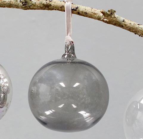 Tikari Glass Bauble, Smoke