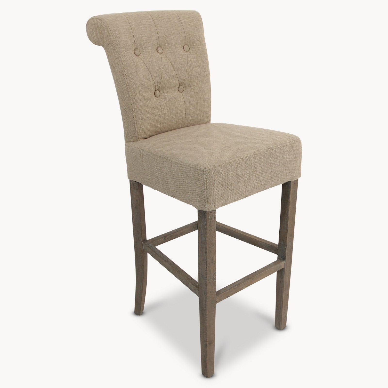 St James Padded Bar Stool / Beige