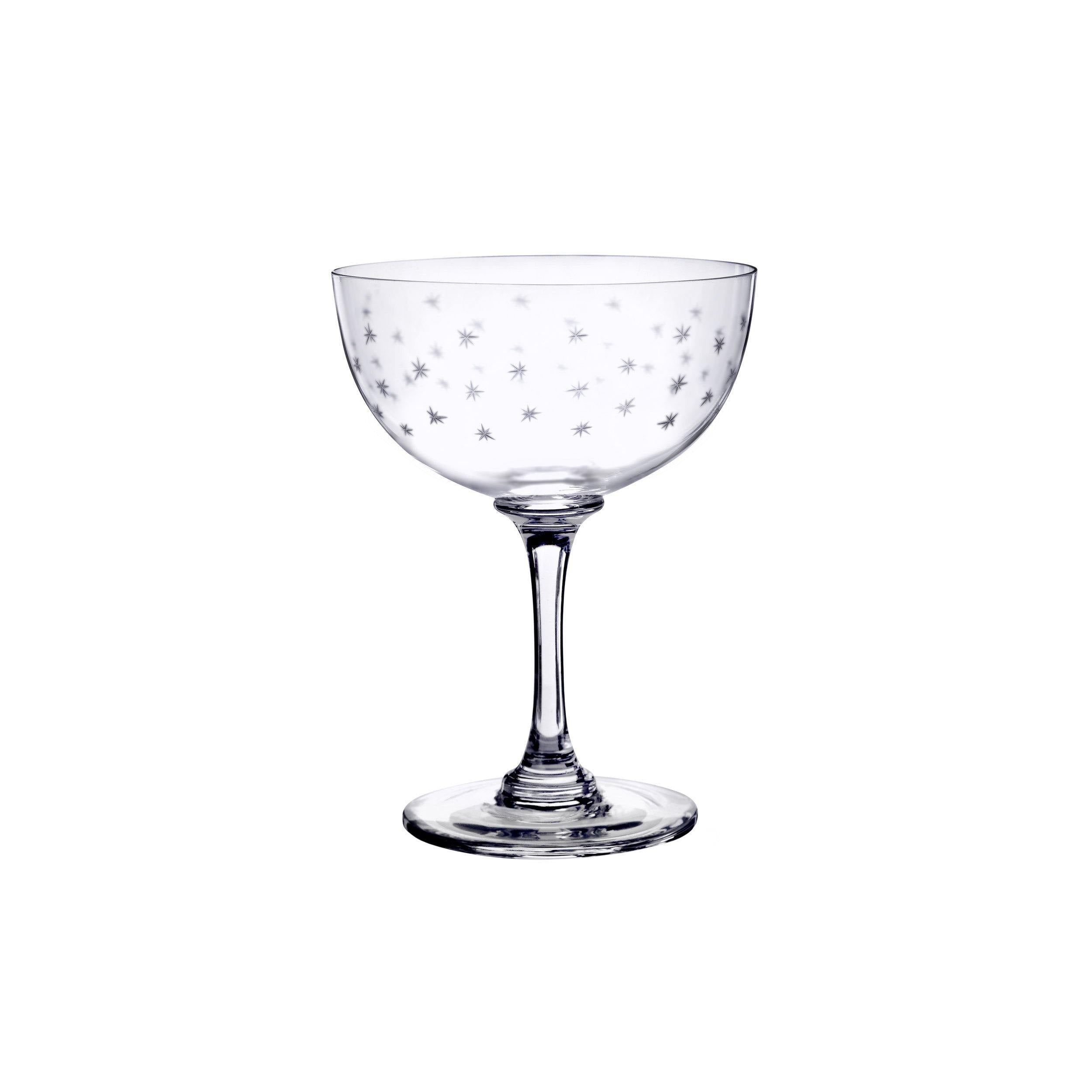 CHAMPAGNE SAUCERS WITH STARS SET OF 6