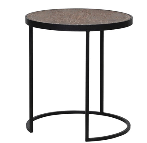 Wood Top Black Iron Side Table