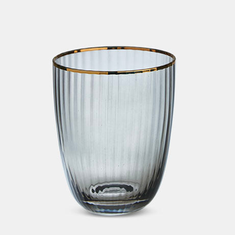Italia Grey Glass Gold Rim Tumbler
