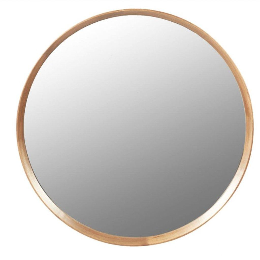 Wood Frame Round Mirror