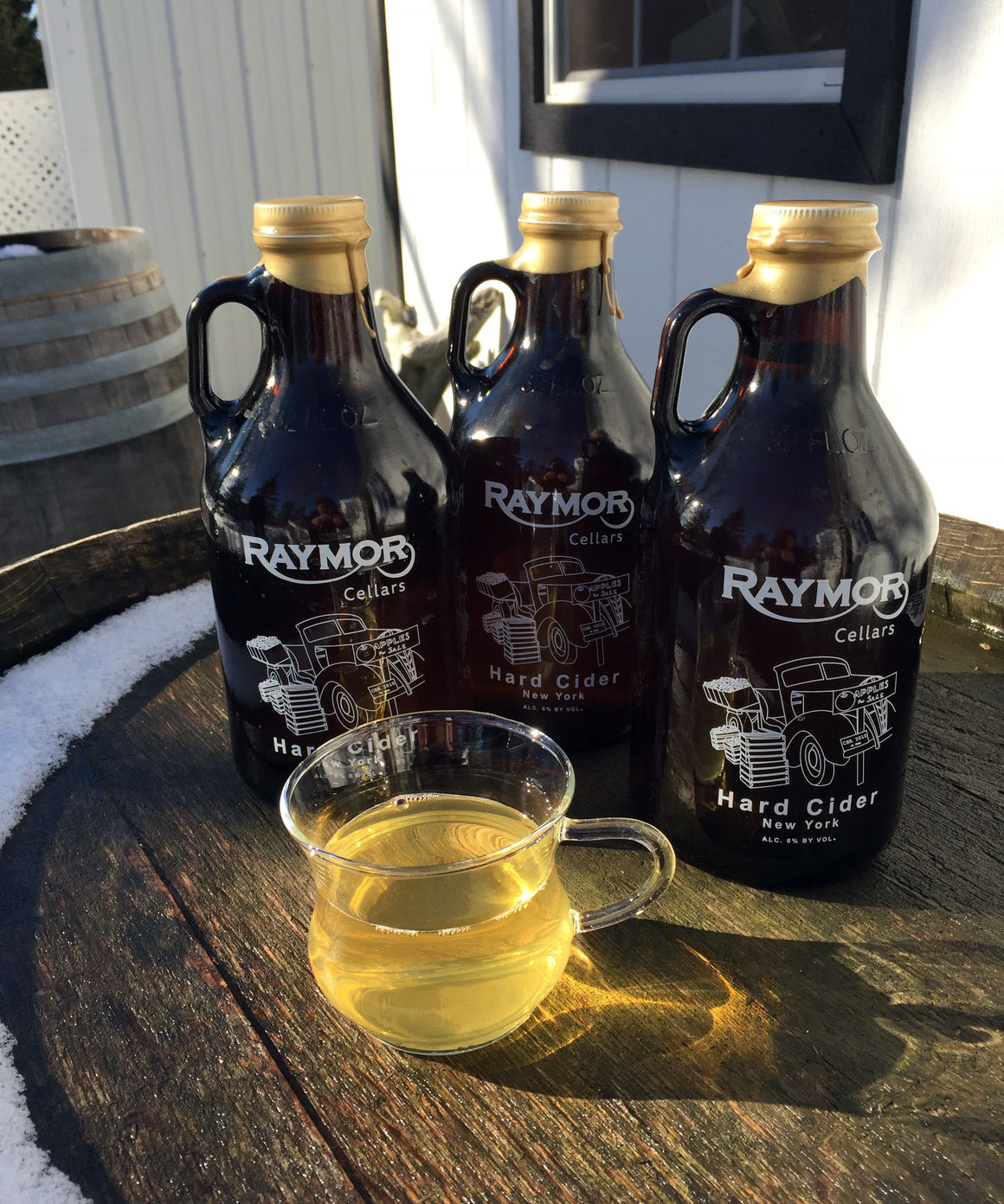 Our Sugar Maple Apple Hard Cider is a blend of eight different apple varietals with the addition of New York State Sugar Maple Syrup. This cider is sweet with a definite maple flavor. Tastes like no other!  Percentage of Alcohol: 6%. Price is $15.00.