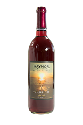 Sunset Red is a delightful refreshing sweet Fredonia based wine with intense grape flavors and aromas. Fredonia is a blue-black Concord-type grape with very large berries. If you like red wines that are a little sweet and fruity, you'll love Raymor Estate Cellars Sunset Red Blend. This wine complements a variety of foods, including red meat, pasta or pizza. It produces a very smooth & crisp taste, best when served chilled.
